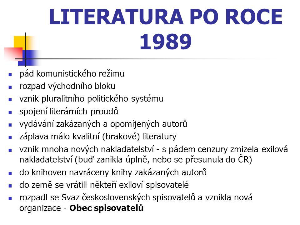 LITERATURA PO ROCE 1989 pád komunistického režimu rozpad východního bloku vznik pluralitního politického systému spojení literárních proudů vydávání z