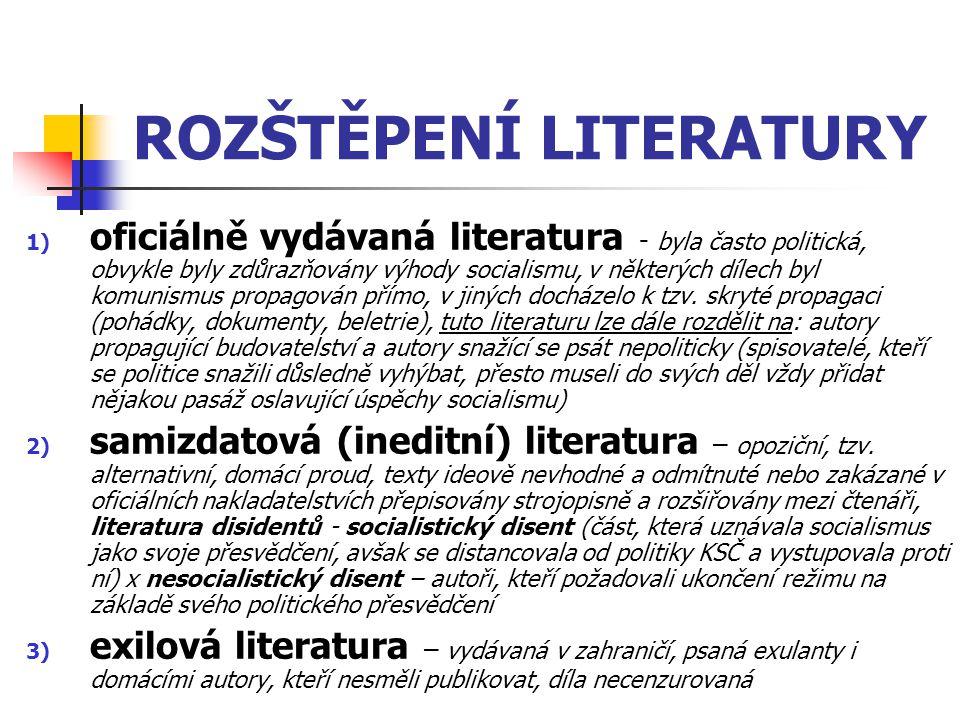 ROZŠTĚPENÍ LITERATURY 1) oficiálně vydávaná literatura - byla často politická, obvykle byly zdůrazňovány výhody socialismu, v některých dílech byl kom