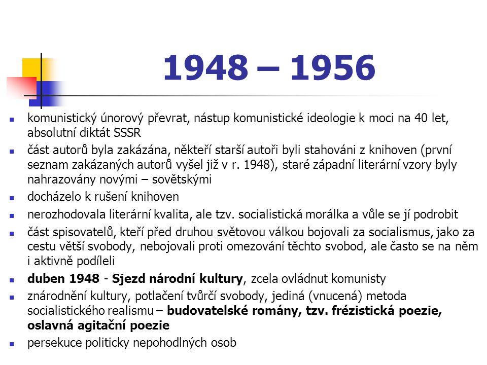 1948 – 1956 komunistický únorový převrat, nástup komunistické ideologie k moci na 40 let, absolutní diktát SSSR část autorů byla zakázána, někteří sta