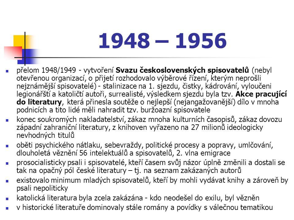 přelom 1948/1949 - vytvoření Svazu československých spisovatelů (nebyl otevřenou organizací, o přijetí rozhodovalo výběrové řízení, kterým neprošli ne