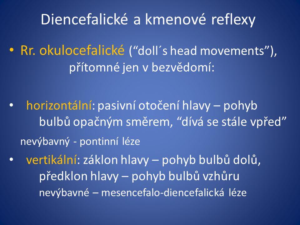 """Diencefalické a kmenové reflexy Rr. okulocefalické (""""doll´s head movements""""), přítomné jen v bezvědomí: horizontální: pasivní otočení hlavy – pohyb bu"""