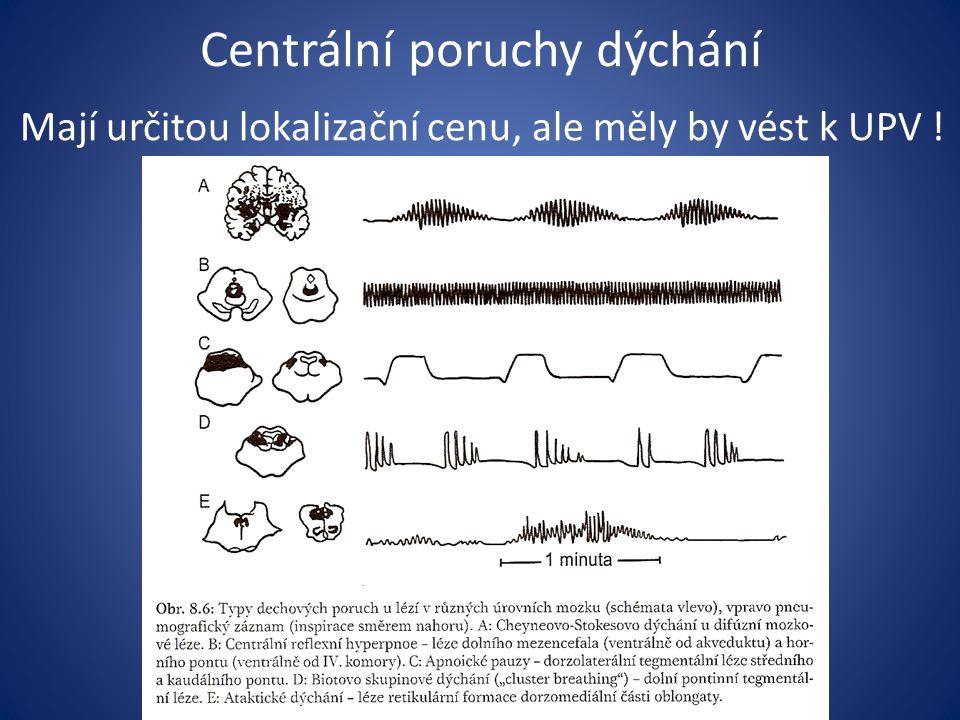 Centrální poruchy dýchání Mají určitou lokalizační cenu, ale měly by vést k UPV !
