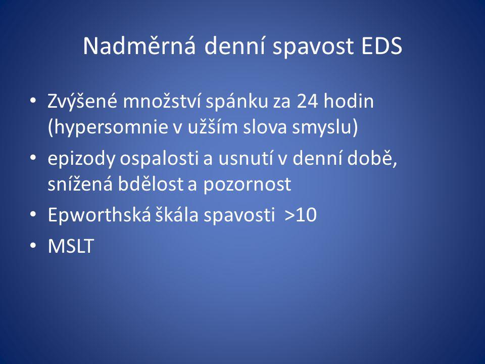 Nadměrná denní spavost EDS Zvýšené množství spánku za 24 hodin (hypersomnie v užším slova smyslu) epizody ospalosti a usnutí v denní době, snížená bdě