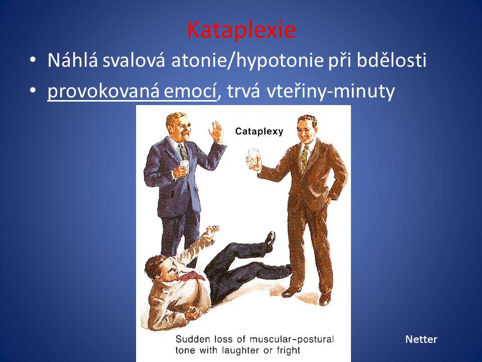 Kataplexie Náhlá svalová atonie/hypotonie při bdělosti provokovaná emocí, trvá vteřiny-minuty Netter