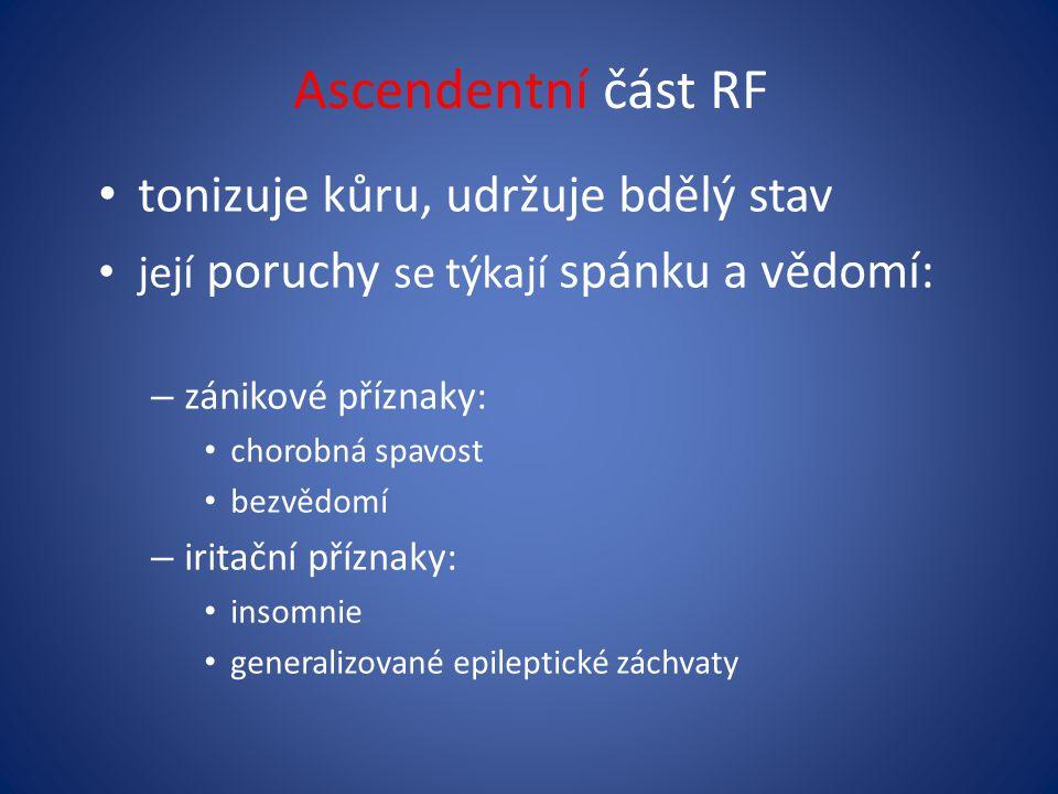 Ascendentní část RF tonizuje kůru, udržuje bdělý stav její poruchy se týkají spánku a vědomí: – zánikové příznaky: chorobná spavost bezvědomí – iritač