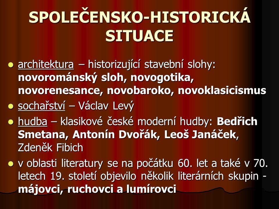 SPOLEČENSKO-HISTORICKÁ SITUACE architektura – historizující stavební slohy: novorománský sloh, novogotika, novorenesance, novobaroko, novoklasicismus