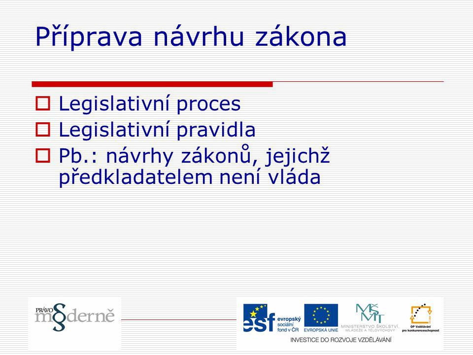 Příprava návrhu zákona  Legislativní proces  Legislativní pravidla  Pb.: návrhy zákonů, jejichž předkladatelem není vláda