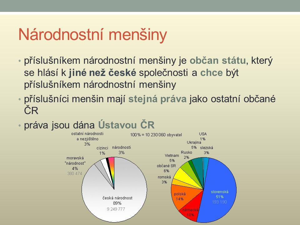 Národnostní menšiny příslušníkem národnostní menšiny je občan státu, který se hlásí k jiné než české společnosti a chce být příslušníkem národnostní m