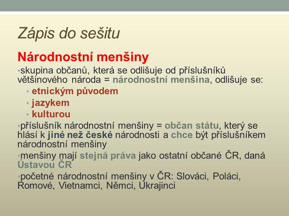 Zápis do sešitu Národnostní menšiny skupina občanů, která se odlišuje od příslušníků většinového národa = národnostní menšina, odlišuje se: etnickým p