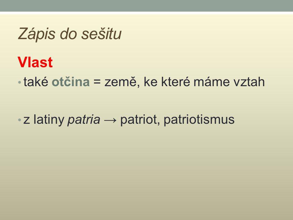 Zápis do sešitu Vlast také otčina = země, ke které máme vztah z latiny patria → patriot, patriotismus