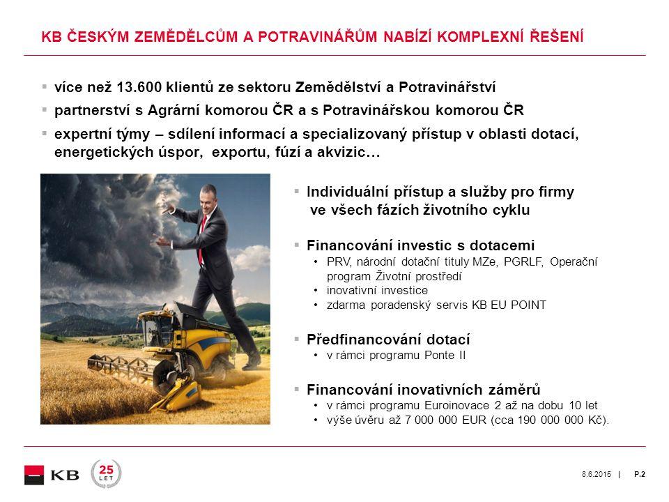 | 8.6.2015P.3  Zisk českého zemědělství ZEMĚDĚLSTVÍ JE OD VSTUPU ČR DO EU ZISKOVÉ Zdroj dat: ČSÚ