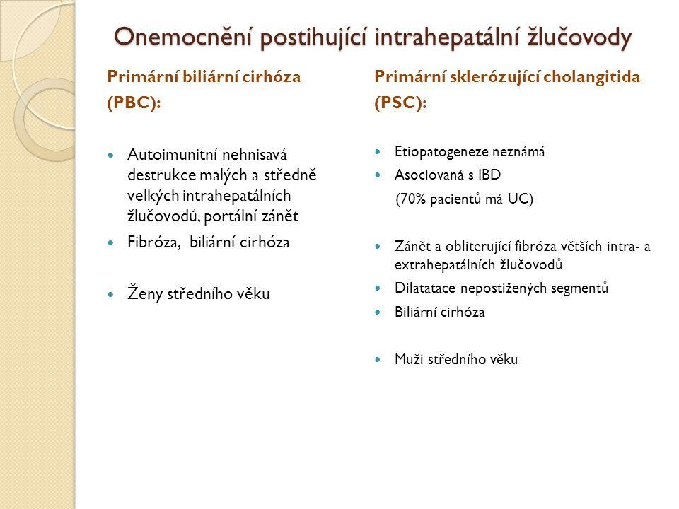 Onemocnění postihující intrahepatální žlučovody Primární biliární cirhóza (PBC): Autoimunitní nehnisavá destrukce malých a středně velkých intrahepatá