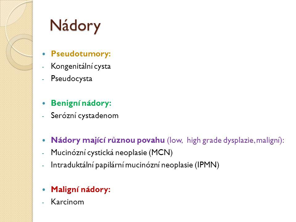 Nádory Pseudotumory: - Kongenitální cysta - Pseudocysta Benigní nádory: - Serózní cystadenom Nádory mající různou povahu (low, high grade dysplazie, m