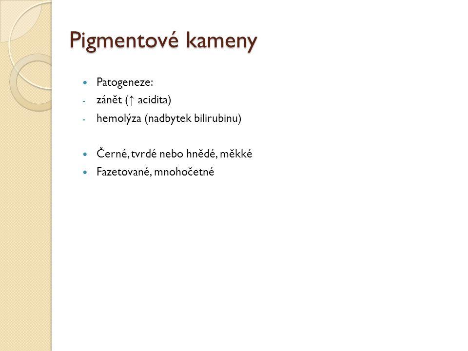 Pigmentové kameny Patogeneze: - zánět ( ↑ acidita) - hemolýza (nadbytek bilirubinu) Černé, tvrdé nebo hnědé, měkké Fazetované, mnohočetné
