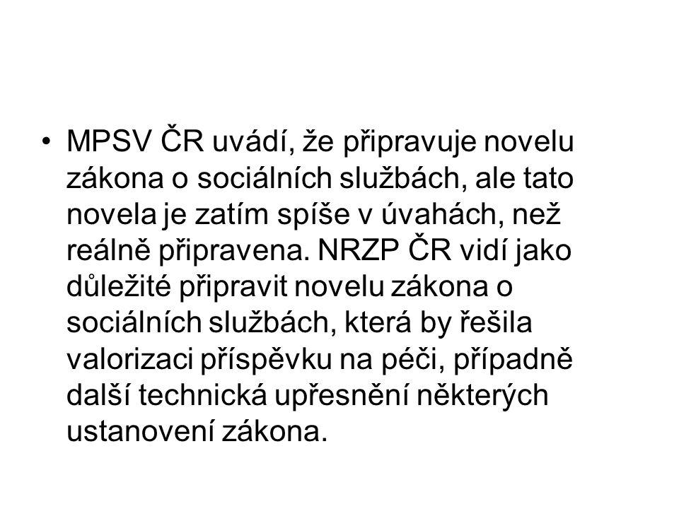 MPSV ČR uvádí, že připravuje novelu zákona o sociálních službách, ale tato novela je zatím spíše v úvahách, než reálně připravena. NRZP ČR vidí jako d