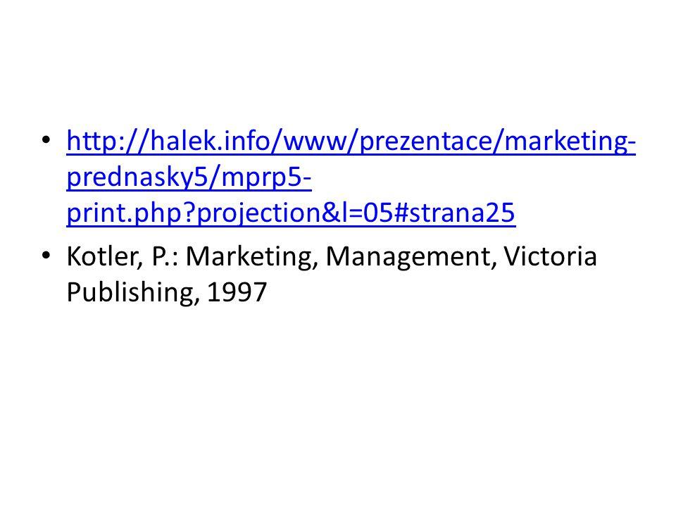 http://halek.info/www/prezentace/marketing- prednasky5/mprp5- print.php?projection&l=05#strana25 http://halek.info/www/prezentace/marketing- prednasky