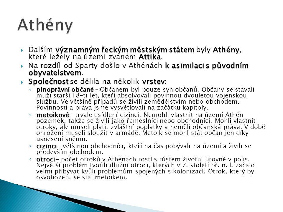 významným řeckým městským státem Athény Attika  Dalším významným řeckým městským státem byly Athény, které ležely na území zvaném Attika. k asimilaci