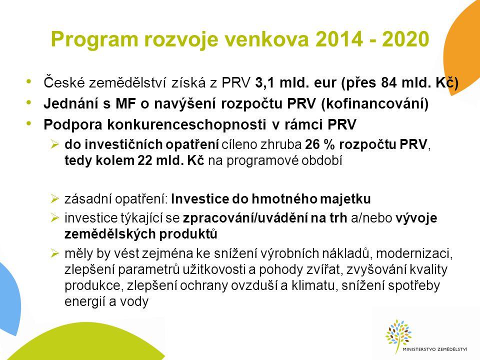 Program rozvoje venkova 2014 - 2020 Investice cílené zejména na zemědělce a potravináře  Podpora investic v zemědělských podnicích: 330 mil.