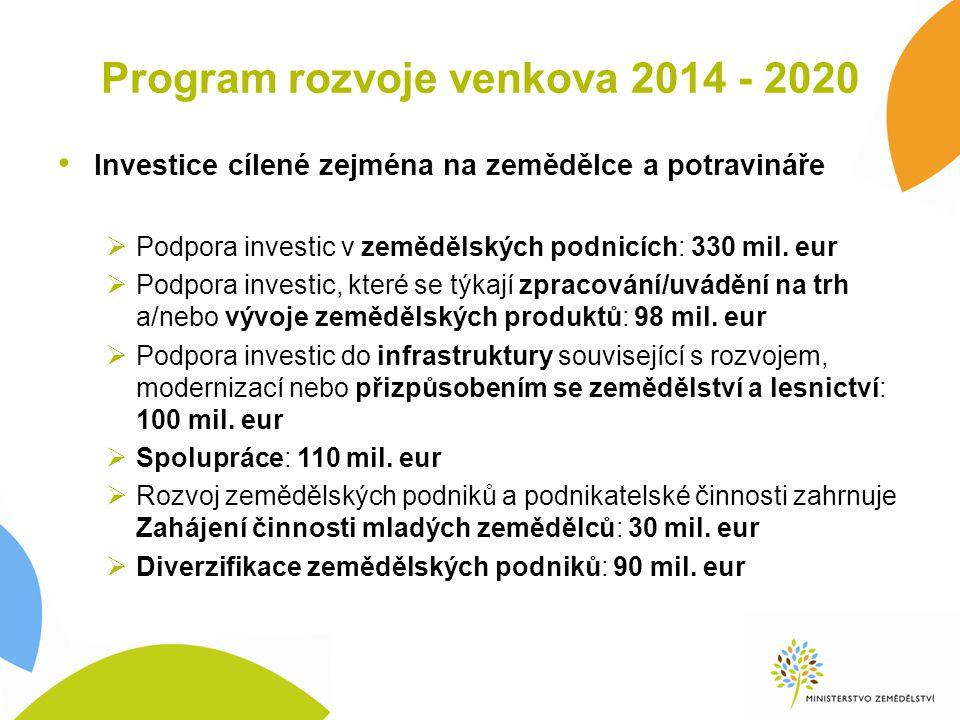 Implementace I.pilíře reformované SZP v ČR 2015 – 2020 Na přímé platby 2015 – 2020 je 141,084 mld.