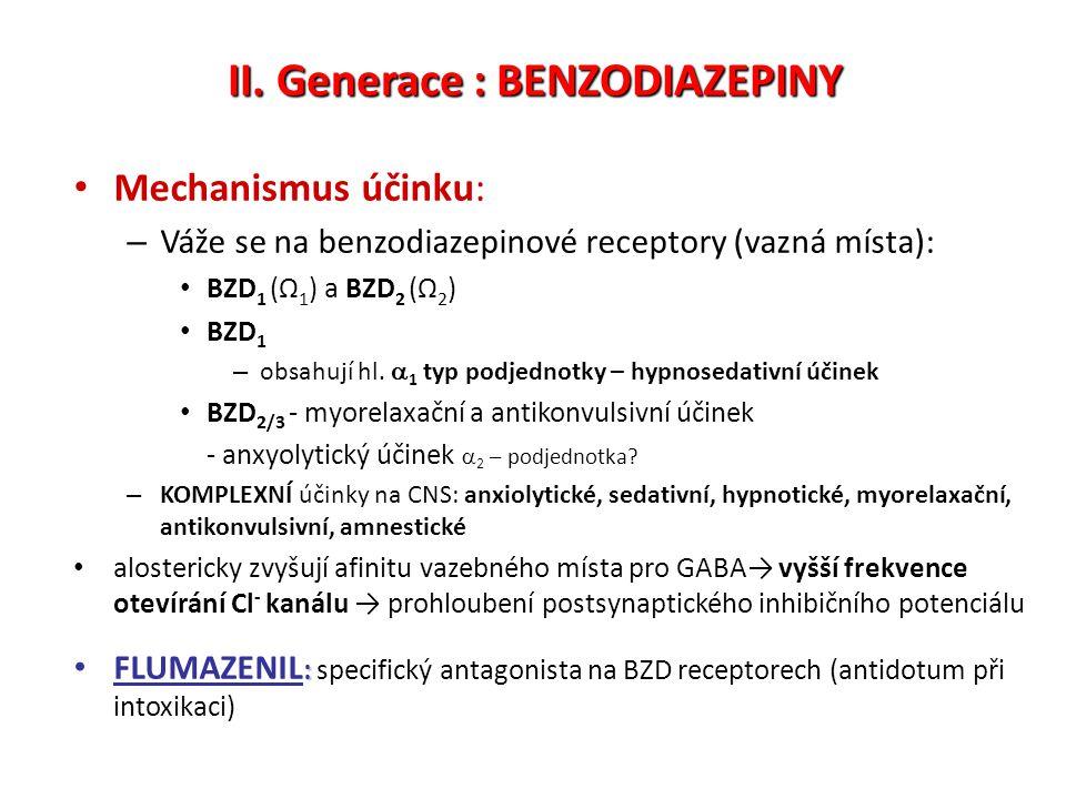 II. Generace : BENZODIAZEPINY Mechanismus účinku: – Váže se na benzodiazepinové receptory (vazná místa): BZD 1 (Ω 1 ) a BZD 2 (Ω 2 ) BZD 1 – obsahují