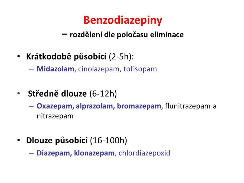Benzodiazepiny – rozdělení dle poločasu eliminace Krátkodobě působící (2-5h): – Midazolam, cinolazepam, tofisopam Středně dlouze (6-12h) – Oxazepam, a