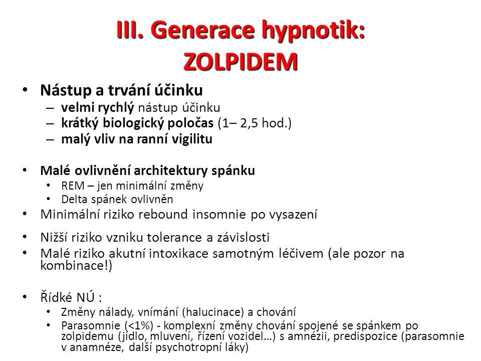 III. Generace hypnotik: ZOLPIDEM Nástup a trvání účinku – velmi rychlý nástup účinku – krátký biologický poločas (1– 2,5 hod.) – malý vliv na ranní vi