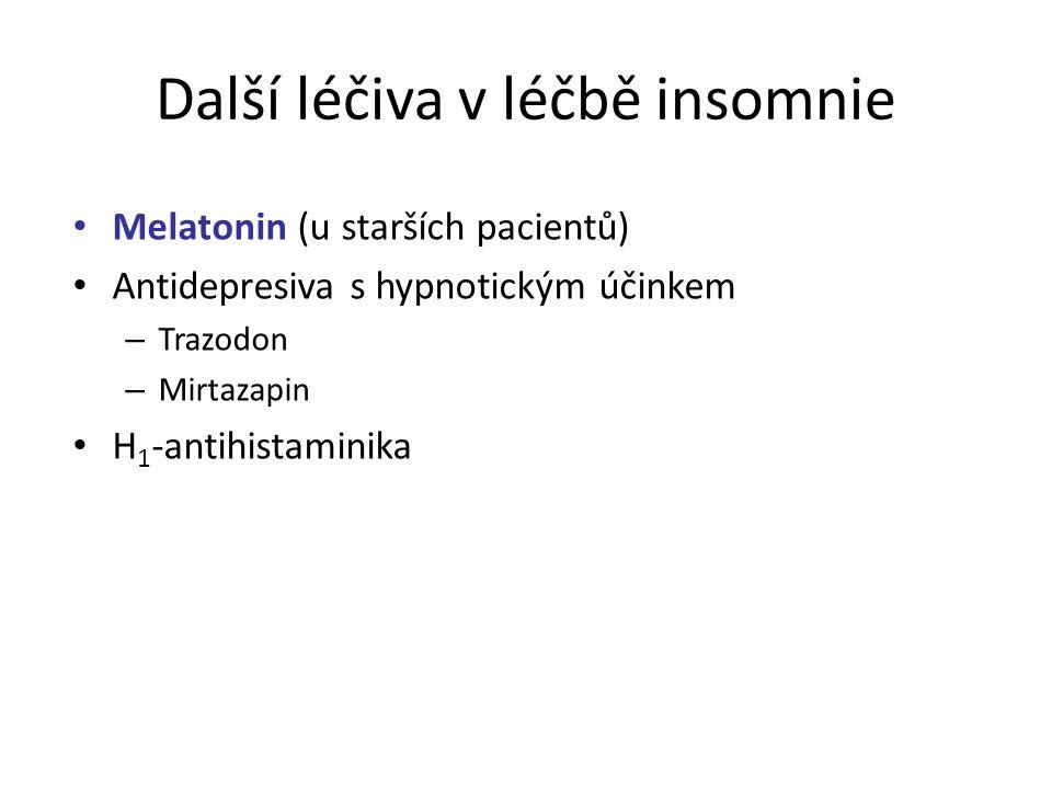 Další léčiva v léčbě insomnie Melatonin (u starších pacientů) Antidepresiva s hypnotickým účinkem – Trazodon – Mirtazapin H 1 -antihistaminika