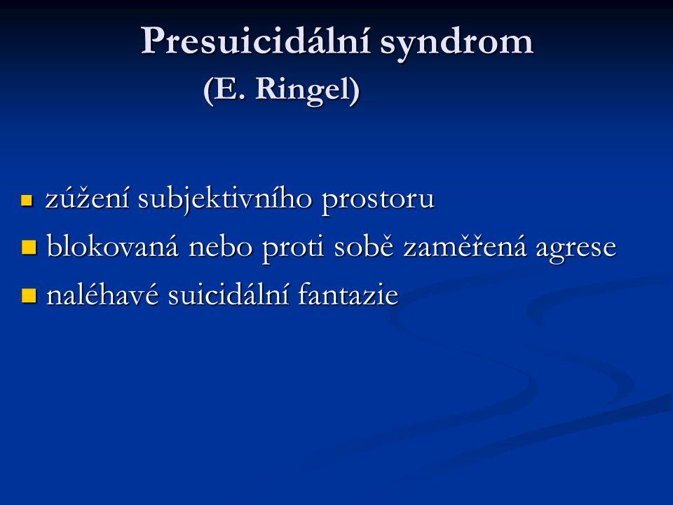 Presuicidální syndrom (E. Ringel) zúžení subjektivního prostoru zúžení subjektivního prostoru blokovaná nebo proti sobě zaměřená agrese blokovaná nebo