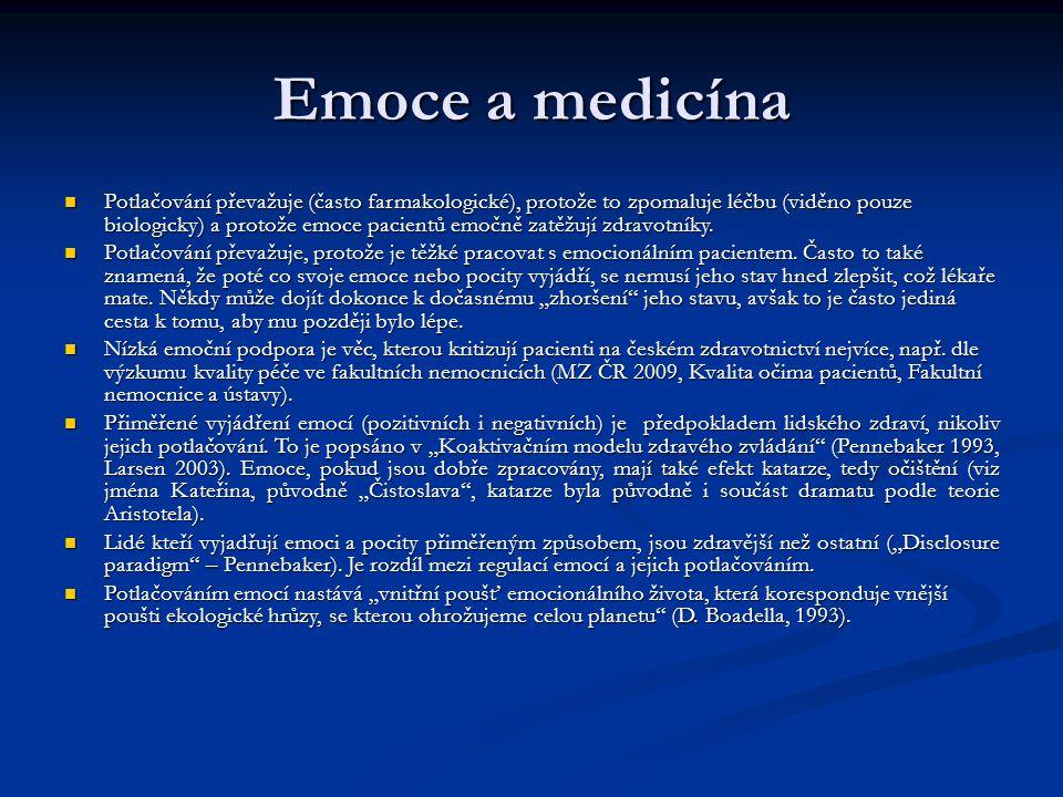 Emoce a medicína Potlačování převažuje (často farmakologické), protože to zpomaluje léčbu (viděno pouze biologicky) a protože emoce pacientů emočně za