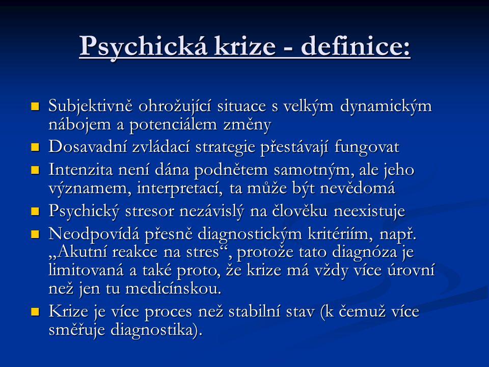 Psychická krize - definice: Subjektivně ohrožující situace s velkým dynamickým nábojem a potenciálem změny Subjektivně ohrožující situace s velkým dyn