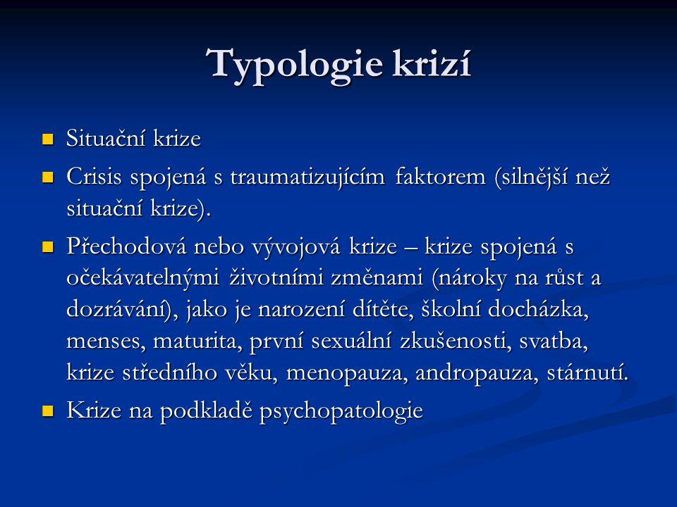 Typologie krizí Situační krize Situační krize Crisis spojená s traumatizujícím faktorem (silnější než situační krize). Crisis spojená s traumatizující