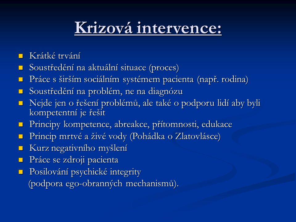 Krizová intervence: Krátké trvání Krátké trvání Soustředění na aktuální situace (proces) Soustředění na aktuální situace (proces) Práce s širším sociá