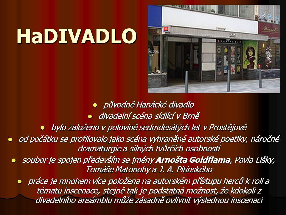 HaDIVADLO původně Hanácké divadlo původně Hanácké divadlo divadelní scéna sídlící v Brně divadelní scéna sídlící v Brně bylo založeno v polovině sedmd