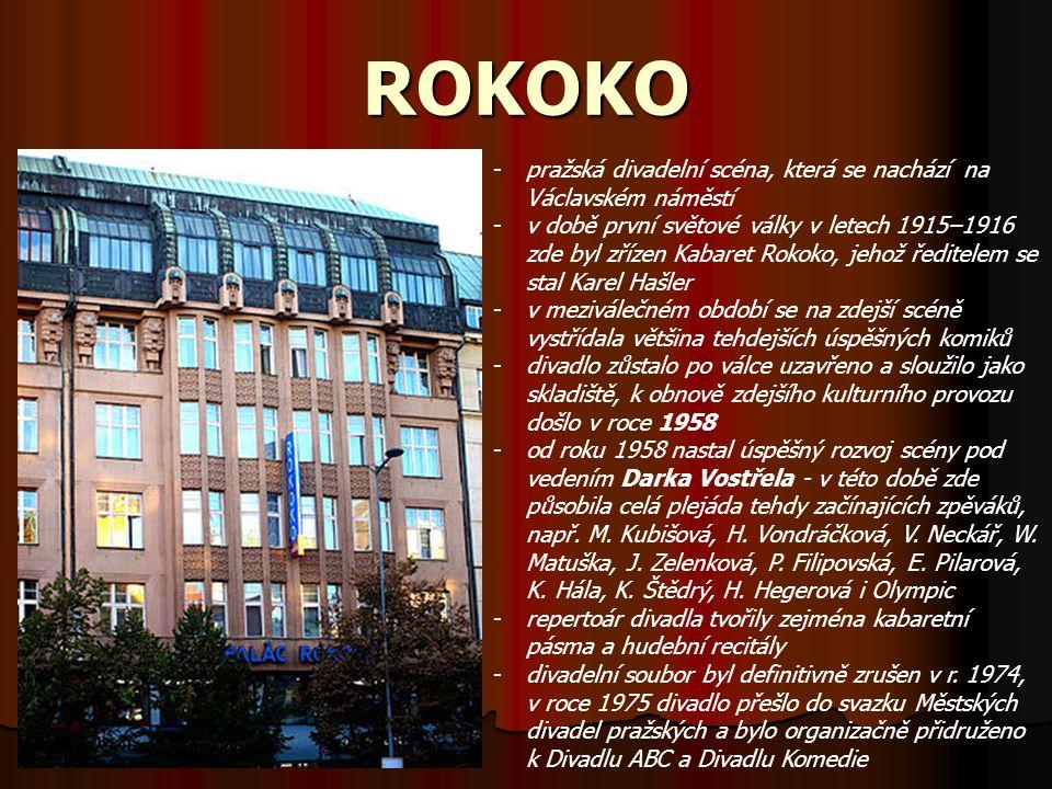 ROKOKO -pražská divadelní scéna, která se nachází na Václavském náměstí -v době první světové války v letech 1915–1916 zde byl zřízen Kabaret Rokoko,