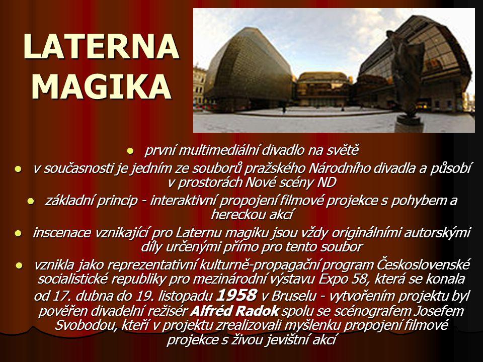 LATERNA MAGIKA první multimediální divadlo na světě v současnosti je jedním ze souborů pražského Národního divadla a působí v prostorách Nové scény ND