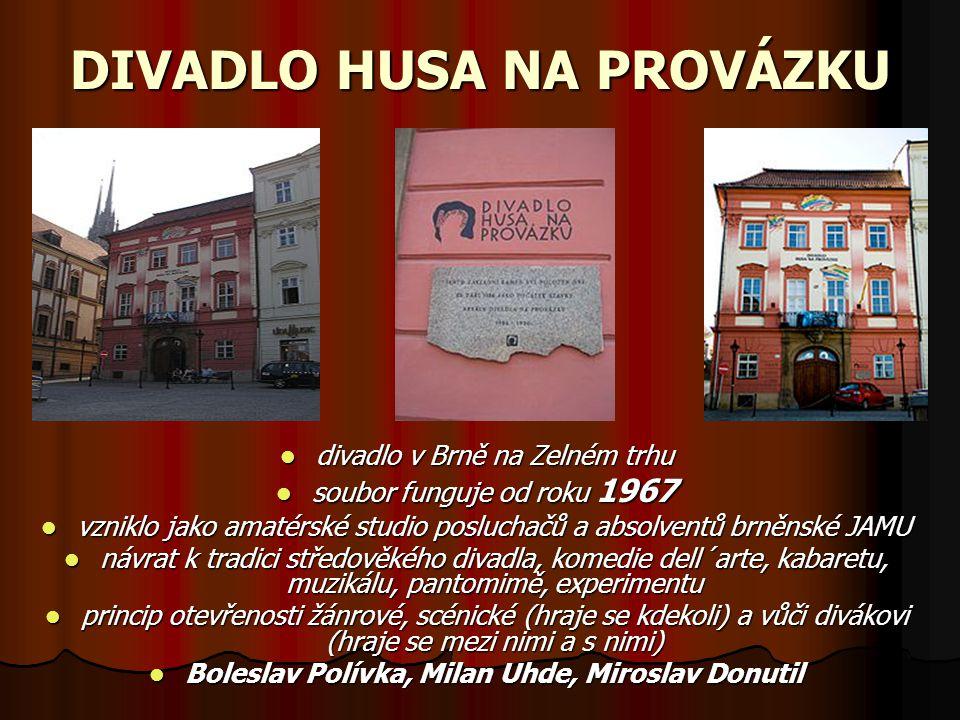 DIVADLO HUSA NA PROVÁZKU divadlo v Brně na Zelném trhu divadlo v Brně na Zelném trhu soubor funguje od roku 1967 soubor funguje od roku 1967 vzniklo j