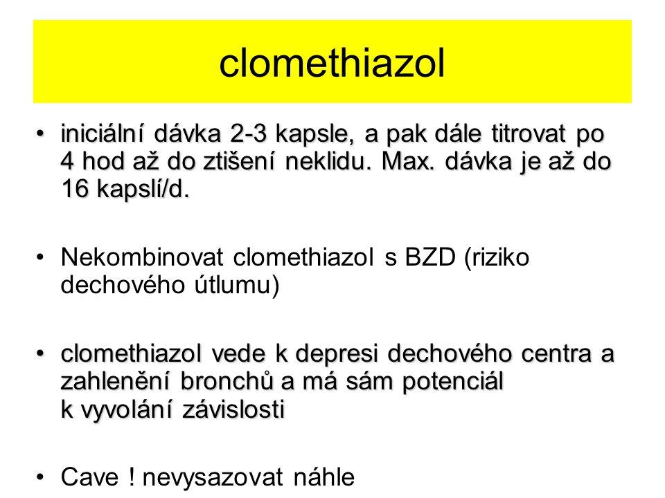 clomethiazol iniciální dávka 2-3 kapsle, a pak dále titrovat po 4 hod až do ztišení neklidu. Max. dávka je až do 16 kapslí/d.iniciální dávka 2-3 kapsl