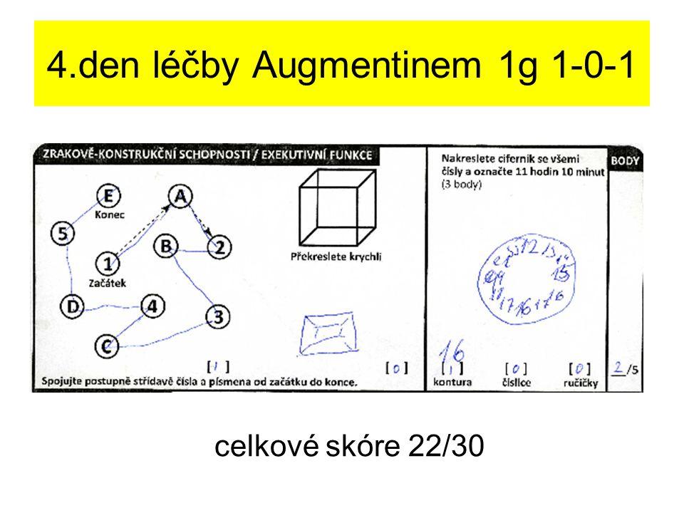 4.den léčby Augmentinem 1g 1-0-1 celkové skóre 22/30