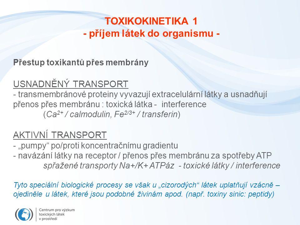 Přestup toxikantů přes membrány USNADNĚNÝ TRANSPORT - transmembránové proteiny vyvazují extracelulární látky a usnadňují přenos přes membránu : toxick