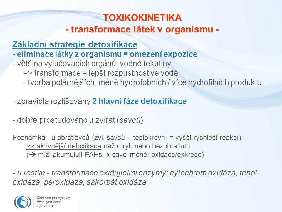 Základní strategie detoxifikace - eliminace látky z organismu = omezení expozice - většina vylučovacích orgánů: vodné tekutiny => transformace = lepší