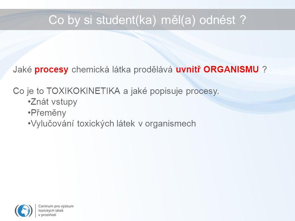 Co by si student(ka) měl(a) odnést ? Jaké procesy chemická látka prodělává uvnitř ORGANISMU ? Co je to TOXIKOKINETIKA a jaké popisuje procesy. Znát vs