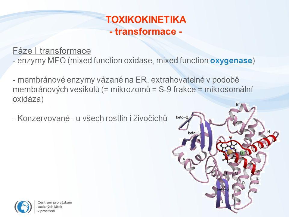 Fáze I transformace - enzymy MFO (mixed function oxidase, mixed function oxygenase) - membránové enzymy vázané na ER, extrahovatelné v podobě membráno