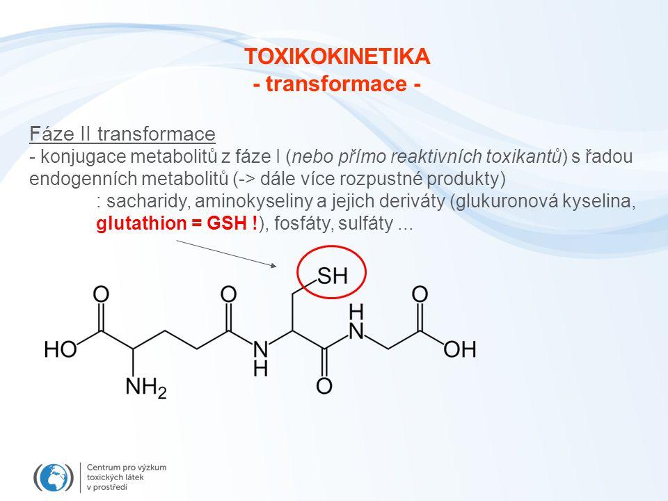 Fáze II transformace - konjugace metabolitů z fáze I (nebo přímo reaktivních toxikantů) s řadou endogenních metabolitů (-> dále více rozpustné produkt