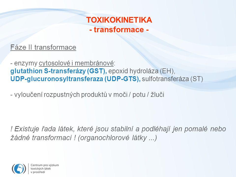 Fáze II transformace - enzymy cytosolové i membránové: glutathion S-transferázy (GST), epoxid hydroláza (EH), UDP-glucuronosyltransferaza (UDP-GTS), s