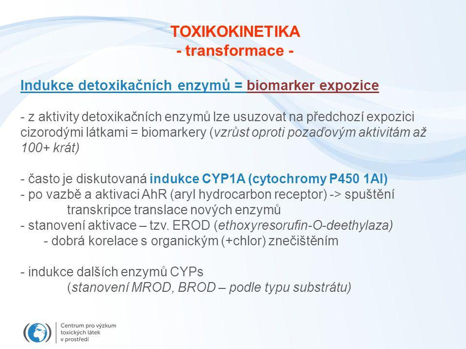 Indukce detoxikačních enzymů = biomarker expozice - z aktivity detoxikačních enzymů lze usuzovat na předchozí expozici cizorodými látkami = biomarkery