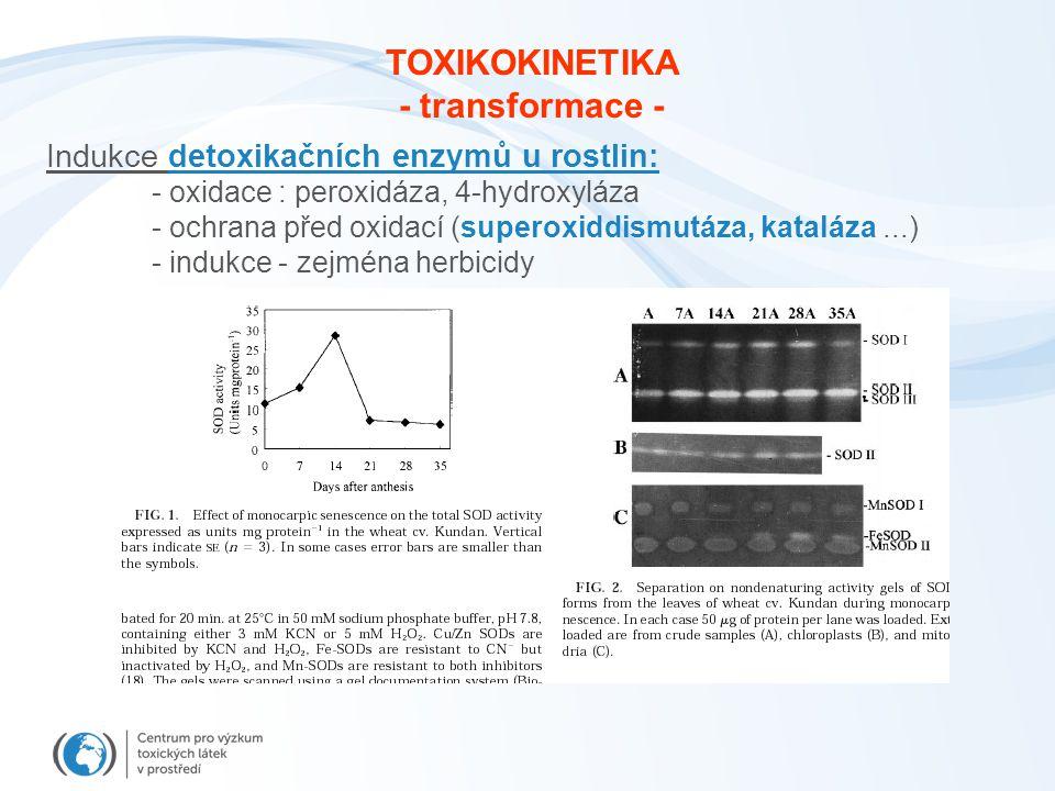Indukce detoxikačních enzymů u rostlin: - oxidace : peroxidáza, 4-hydroxyláza - ochrana před oxidací (superoxiddismutáza, kataláza...) - indukce - zej