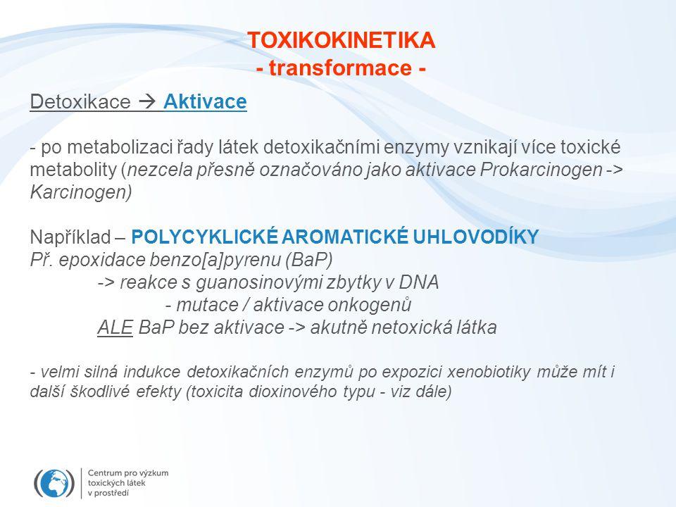 Detoxikace  Aktivace - po metabolizaci řady látek detoxikačními enzymy vznikají více toxické metabolity (nezcela přesně označováno jako aktivace Prok