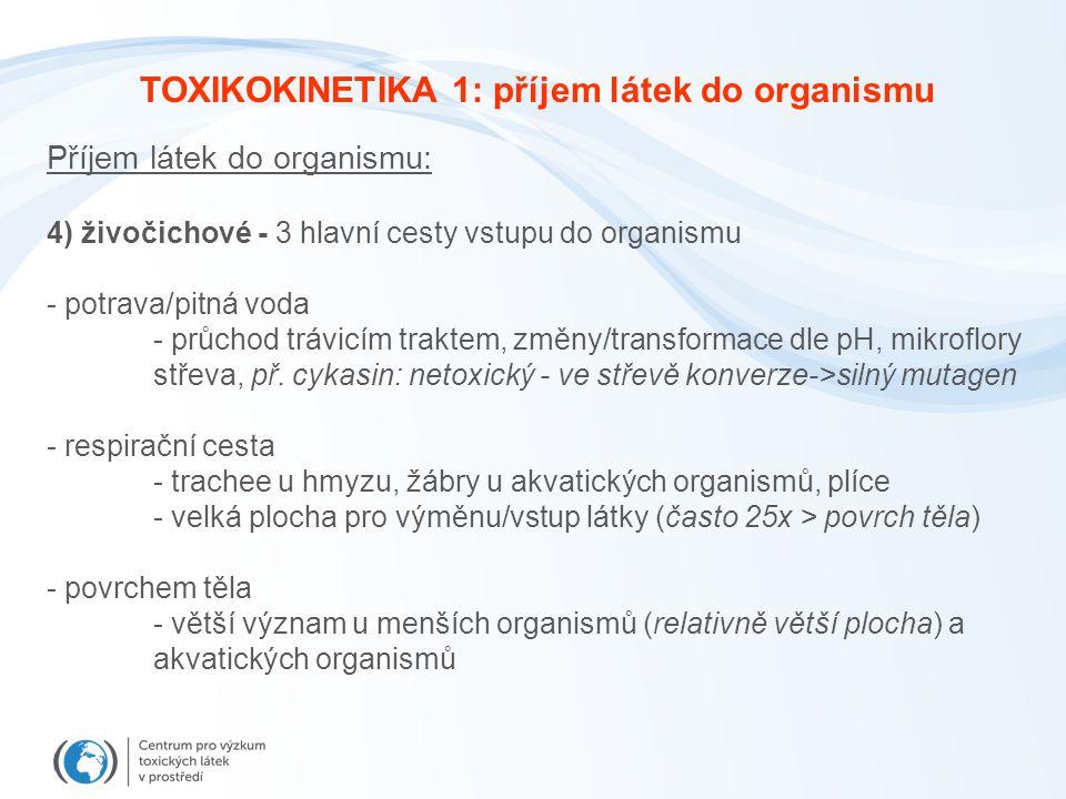 Příjem látek do organismu: 4) živočichové - 3 hlavní cesty vstupu do organismu - potrava/pitná voda - průchod trávicím traktem, změny/transformace dle