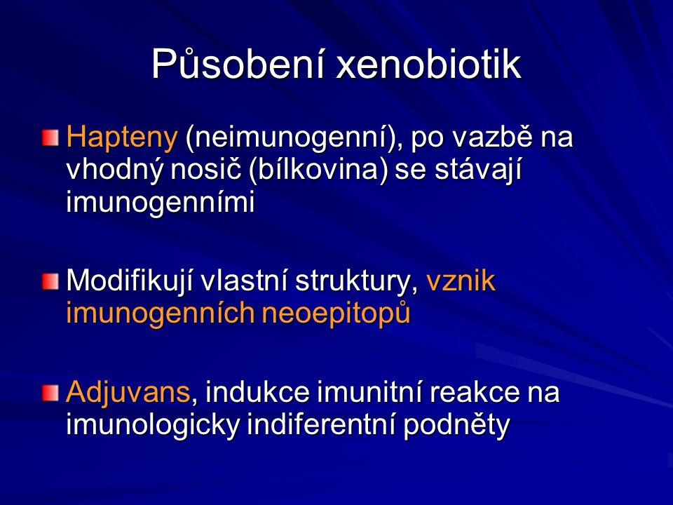 Působení xenobiotik Hapteny (neimunogenní), po vazbě na vhodný nosič (bílkovina) se stávají imunogenními Modifikují vlastní struktury, vznik imunogenn