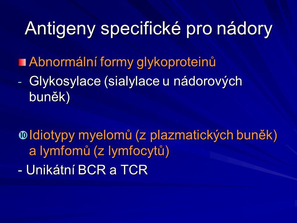 Antigeny specifické pro nádory Abnormální formy glykoproteinů - Glykosylace (sialylace u nádorových buněk)  Idiotypy myelomů (z plazmatických buněk)
